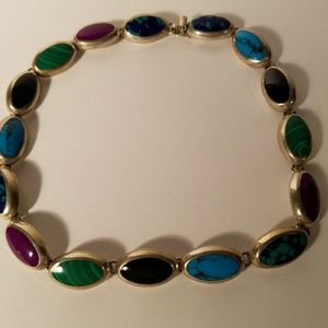 Multi Polished Natural Stone Necklace Sterling Sil